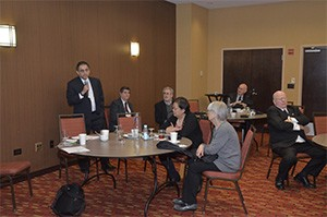 Dr. Ryan Vahdani, MWU Faculty speaking with the new dentist panelists