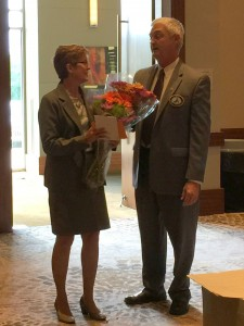 Deb Noordhoff, IL AGD Executive Secretary retires from the IL AGD. Dr. Williams thanking her for her years of service to the IL AGD