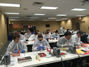 Doctors learning periodontal surgical procedures