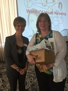 Dr. Cheryl Mora with Kate Polinski, Johnson & Johnson Raffle Winner
