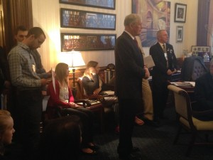 Senator William Heine, District 56 (D) addressing dental students