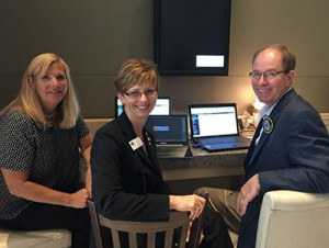 Maureen Kugel, IL AGD Executive Assistant, Drs. Cheryl Mora, IL Past President and Paul Obrock, Chair Web & Internet Com