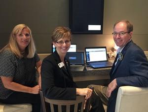 Maureen Kugel, IL AGD Executive Assistant, Drs. Cheryl Mora, IL Past President and Paul Obrock, Chair Web & Internet Com