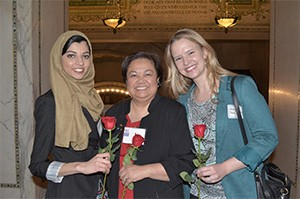 MWU students Wajiha Tariq and Whitney Sebree with Dr. Theresa Lao (center)