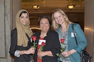 MWU students Wajiha Tariq and Whitney Sebree with Dr. Theresa Lao (center)