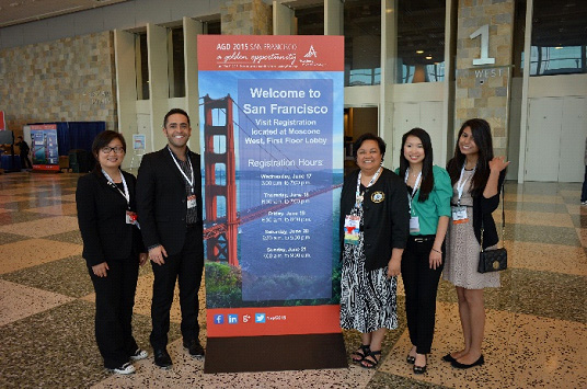 Yin Cao & Andrew Fakhoury-Midwestern University College of Dentistry Students; Dr. Theresa Lao-IL AGD Board member & faculty MWU; Katrina Lo and Natasha Kanchwala-University of Illinois at Chicago College of Dentistry students